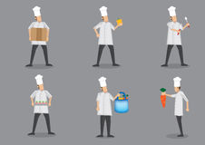 Chef in White Uniform and Toque Vector Character Illustration Stock Photo