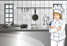 Chef in white uniform working in kitchen Royalty Free Stock Photo