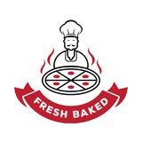 Chef serve fresh baked pizza logo. Chef wih mustache serve fresh baked pizza logo vector illustration Royalty Free Stock Photo