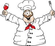 Chef with wine and fork. Illustration of a happy Chef holding a glass of wine and a fork Royalty Free Stock Image