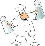 Chef With Large Salt And Pepper Shakers Stock Photography
