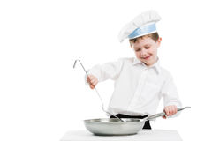 Chef With Pan And Trowel Isolated Royalty Free Stock Photos