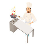 Chef with wok pan. Chef wok fry on wok pan. Restaurant cooking. Cook in uniform preparing food in hotel. Professional master Stock Image
