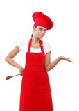 Chef woman. Young woman dressed as a cook with cap over white backgound Stock Images