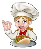 Chef Woman avec le chiche-kebab illustration stock