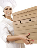 Chef woman with boxes of pizza Royalty Free Stock Images