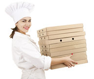 Chef woman with boxes of pizza Stock Photo