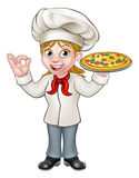 Chef Woman Cartoon Character de pizza Photographie stock