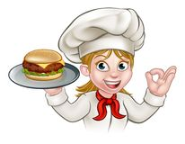 Chef Woman Cartoon Character tenant l'hamburger illustration de vecteur