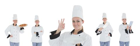 Chef woman collage stock photography