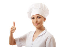 Chef woman, cook, happy thumbs up Stock Photo