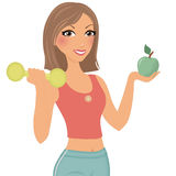 Workout woman. Woman with barbell and apple Stock Photo