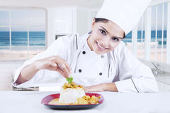 Chef Woman Decorating Delicious Food Royalty Free Stock Photo