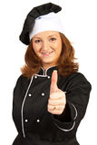 Chef woman give thumb up Stock Photos