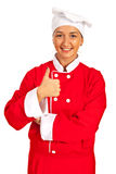 Chef woman giving thumbs Royalty Free Stock Images