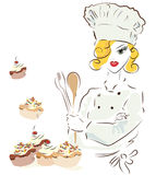 Chef woman with a hat Royalty Free Stock Photo