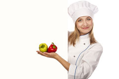 Chef woman. Isolated over white background Royalty Free Stock Image
