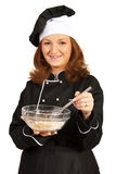 Chef woman making pizza dough Stock Photos