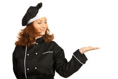 Chef woman making presentation Royalty Free Stock Images