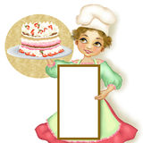 Chef woman pastry with stuffed pie Stock Photography