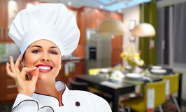 Chef woman. stock photos