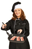Chef woman prepare meat Stock Image