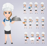 Chef woman set. Cute cartoon character cook. Royalty Free Stock Photos