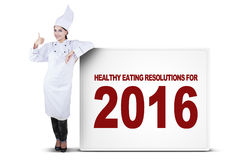 Chef Woman Standing with Billboard Stock Photography