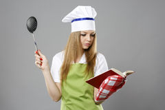 Chef woman thinking about what to cook Stock Photo
