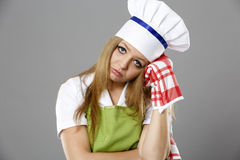Chef woman thinking about what to cook Stock Image