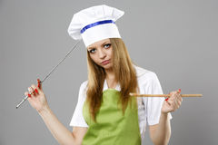 Chef woman thinking about what to cook Stock Photography