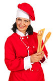 Chef woman with wooden utensils Royalty Free Stock Photography