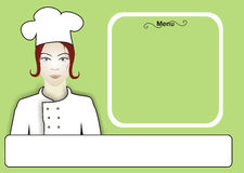 Chef Women Menu Royalty Free Stock Photography