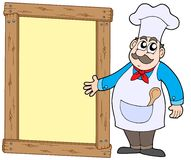 Chef with wooden panel Royalty Free Stock Image