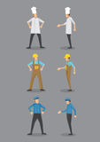 Chef, Worker and Security Guard in Uniform Vector Icon Stock Image