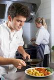Chef Working In Restaurant Kitchen royalty free stock photo