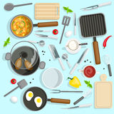 Chef Workplace Top View Set Stock Photos