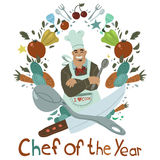 Chef of the Year. The vector illustration of chef with stuff for games, ui, tablets, smart phones Stock Photo