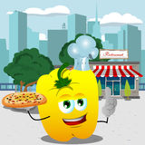 Chef yellow bell pepper holding pizza with attitude in front of a restaurant Royalty Free Stock Image