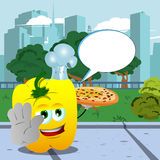 Chef yellow bell pepper with pizza holding a stop sign in the city park with speech bubble Stock Photography