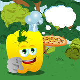 Chef yellow bell pepper with pizza pointing at viewer in the forest with speech bubble Stock Images