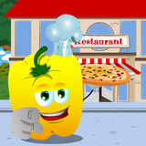 Chef yellow bell pepper with pizza pointing at viewer in front of a restaurant Stock Images