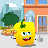 Chef yellow bell pepper with pizza showing thumb up in the city Stock Images
