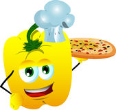 Chef yellow bell pepper showing a delicious pizza Royalty Free Stock Images