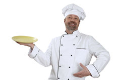 Chef with a yellow bowl in hand and  big smile Stock Image