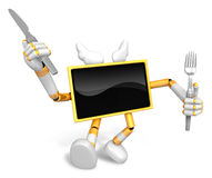 Chef Yellow TV Character right hand, Fork in the left hand holdi Royalty Free Stock Photo