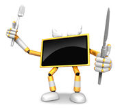 Chef Yellow TV Character right hand, Fork in the left hand holdi Stock Images
