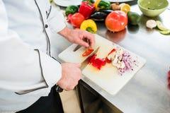 Chefausschnittzwiebeln und -gemüse, zum sich für das Kochen vorzubereiten Lizenzfreies Stockfoto