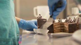 Chefbäcker, der oben Stückschokoladenkuchen auf Serviette in Süßigkeitsshopabschluß einsetzt lizenzfreies stockfoto