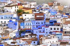 Chefchaoen, Morocco, Africa; October 14, 2019: View on the colorful houses of the medina of the blue city of Chefchaouen royalty free stock photos